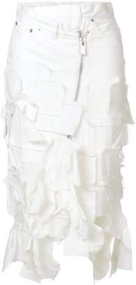 Sacai asymmetric textured denim skirt