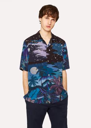 Paul Smith Men's Navy 'Midnight' Print Short-Sleeve Shirt