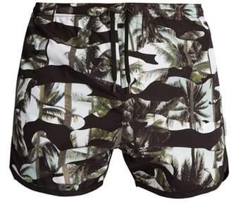 Neil Barrett Camouflage Palm Print Swim Shorts - Mens - Black Multi