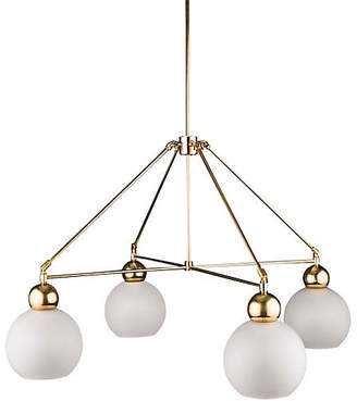 The Light Factory Quad-Globe Chandelier - Frosted/Raw Brass