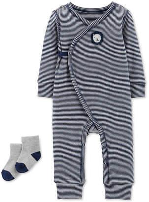 Carter's Baby Boys 2-Pc. Striped Kimono Coverall & Socks Set