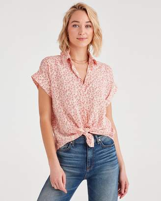7 For All Mankind Tie Front Short Sleeve Shirt with Floral Print in Pink Sunrise