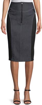 High-Waist Zip-Front Knee-Length Jean Skirt