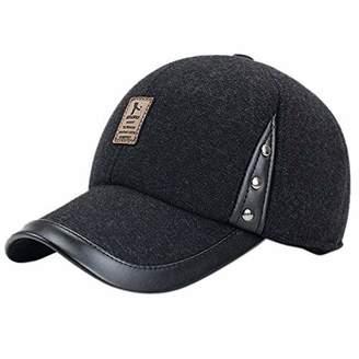 5a4a7697304 eYourlife2012 Men Winter Thicken Wool Fleece Lined Snowboarding Baseball Cap  Hat with Earflaps