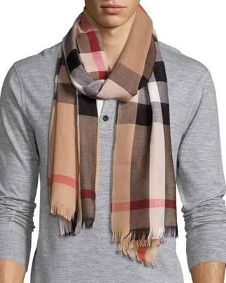 Burberry Men's Cashmere/Wool-Blend Lightweight Mega-Check Scarf, Camel