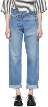 R13 Blue Refurbished Cross Over Jeans