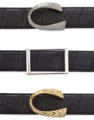 Corthay Patent Crocodile, Python, French Calf, Suede and Patent leather Belt Strap