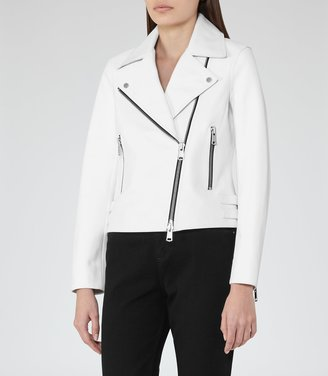 Reiss Bronx - Leather Biker Jacket in Off White