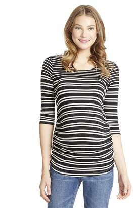 Jessica Simpson Motherhood Maternity Striped Side Ruched Maternity Top