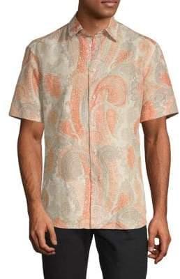 Brioni Paisley Short Sleeve Sport Shirt