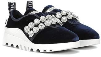 Miu Miu Embellished velvet sneakers