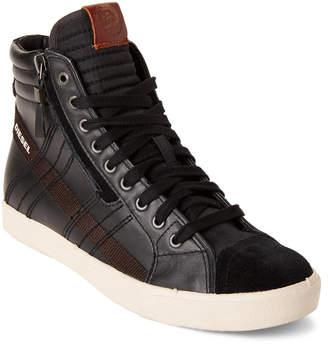 Diesel Black D-String Leather High-Top Sneakers