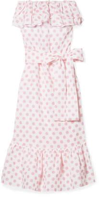 Lisa Marie Fernandez Sabine Strapless Polka-dot Linen Maxi Dress - Pink