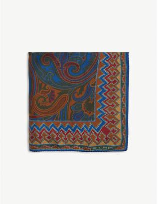 Etro Paisley chevron print silk pocket square