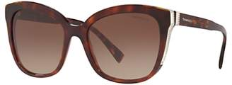 Tiffany & Co. TF4150 Women's Embellished Square Sunglasses, Tortoise/Brown Gradient