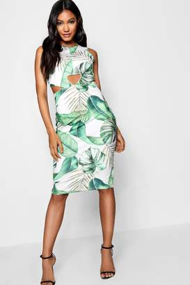 boohoo Tropical Print Cut Out Front Midi Dress