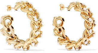 Rosantica Ingranaggio Gold-tone Pearl Hoop Earrings