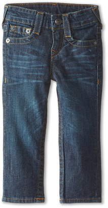 True Religion Kids Geno Relaxed Slim Fossil Silk Single End Classic Stretch in Dark Indigo (Toddler/Little Kids) $79 thestylecure.com