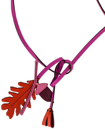 prada Prada Leather Acorn & Leaf Necklace