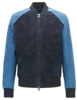 BOSS Hugo Slim-fit varsity jacket in suede & denim 42R Dark Blue