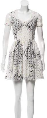 Marco De Vincenzo Eyelet Mini Dress