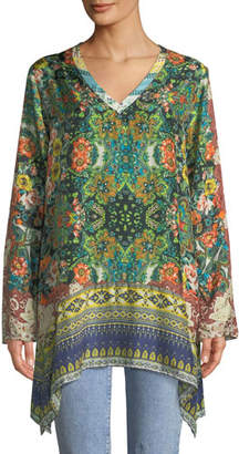 Johnny Was Plus Size Paisley Silk Long-Sleeve V-Neck Tunic