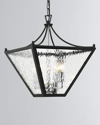 Park Hill 4-Light Matte Black and Polished Chrome Small Lantern