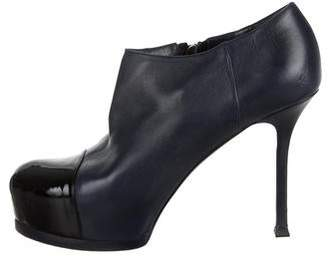 Saint Laurent Leather Platform Ankle Booties