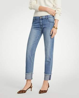Ann Taylor Petite Frayed Cuff Girlfriend Jeans