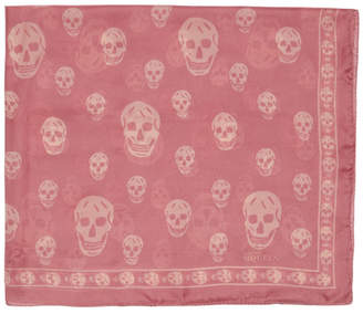 Alexander McQueen Pink and Beige Silk Skull Scarf