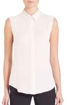 Theory Tanelis Modern Silk Sleeveless Blouse