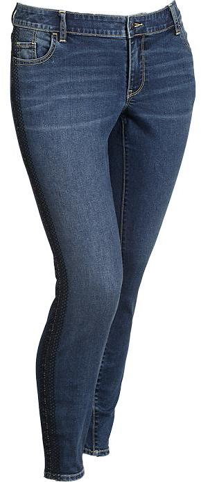 Old Navy Women's Plus The Rockstar Tuxedo-Stripe Jeans