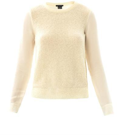 Theory Rolleena knitted front blouse
