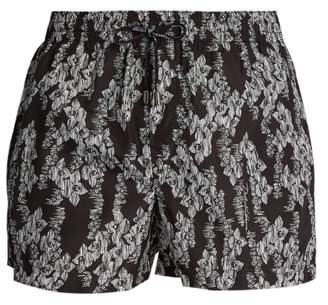 Dolce & Gabbana Hawaiian Print Swim Shorts - Mens - Black