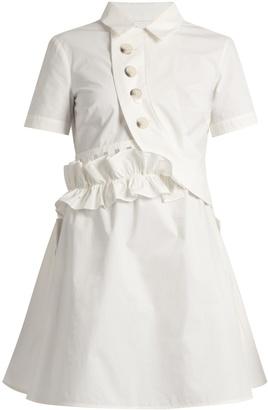 SELF-PORTRAIT Ruffled V-back cotton-poplin dress $425 thestylecure.com