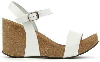 Brunate DF By Daniel Ryther White Leather Corked Wedge Sandal