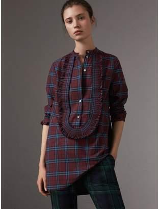 Burberry Ruffle Detail Check Cotton Tunic Shirt