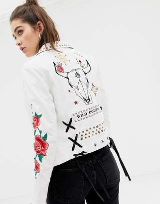 Glamorous faux leather jacket with embroidered sleeves