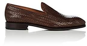 Carmina Shoemaker Men's Woven Leather Venetian Loafers-Dk. brown