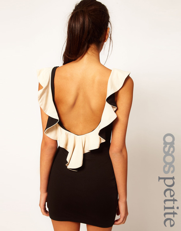 Asos Exclusive Body-Conscious Dress With Ruffle Neck