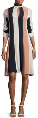 Derek Lam Colorblock Long-Sleeve Keyhole Dress, Nude/Multi $2,295 thestylecure.com