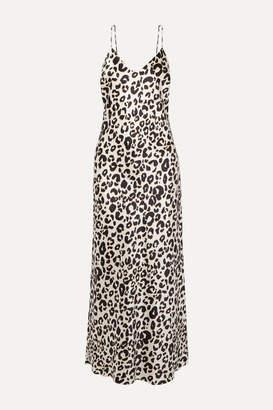 Anine Bing Rosemary Leopard-print Silk-satin Maxi Dress - Off-white
