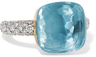 Pomellato Nudo 18-karat White Gold, Topaz And Diamond Ring