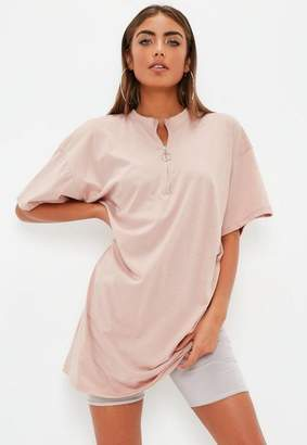 Missguided Rose Pink Oversized Zip Front T-Shirt Dress
