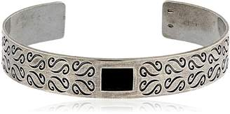 ara Engraved Silver Bracelet W/ Onyx