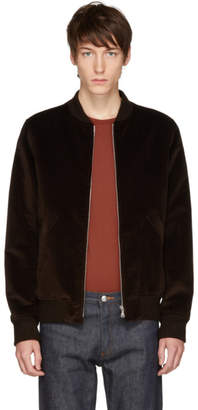 A.P.C. Brown Velvet Barrett Bomber Jacket