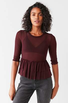 Out From Under Mesh Ruffle Peplum Top