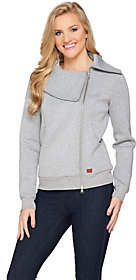 Peace Love World Asymmetric Zip-Front ScubaKnit Jacket