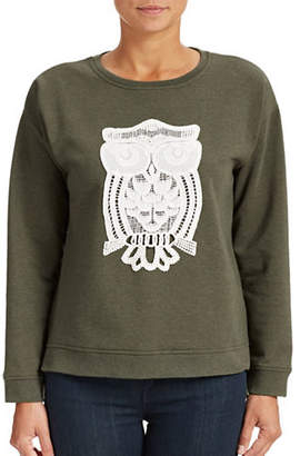 Kensie Owl Embroidered Sweatshirt