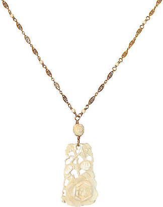 One Kings Lane Vintage 1920s Carved Bone Pendant & Ornate Chain - Little Treasures